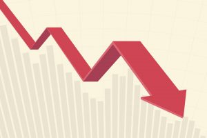 red color 3d downtrend line arrow go down in flat icon design and bar chart on yellow color background